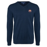 Classic Mens V Neck Navy Sweater-Primary Mark w/out Peoria