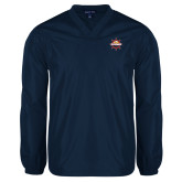 V Neck Navy Raglan Windshirt-Primary Mark w/out Peoria