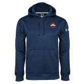 Under Armour Navy Performance Sweats Team Hoodie-Primary Mark w/out Peoria