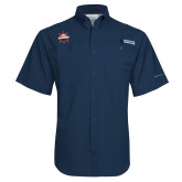 Columbia Tamiami Performance Navy Short Sleeve Shirt-Primary Mark w/out Peoria