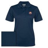 Ladies Navy Dry Mesh Polo-Primary Mark w/out Peoria