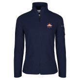 Columbia Ladies Full Zip Navy Fleece Jacket-Primary Mark w/out Peoria