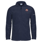 Columbia Full Zip Navy Fleece Jacket-Primary Mark w/out Peoria