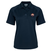 Ladies Navy Textured Saddle Shoulder Polo-Primary Mark w/out Peoria