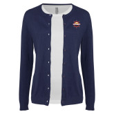 Ladies Navy Cardigan-Primary Mark w/out Peoria