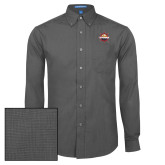 Mens Dark Charcoal Crosshatch Poplin Long Sleeve Shirt-Primary Mark w/out Peoria