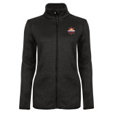 Black Heather Ladies Fleece Jacket-Primary Mark w/out Peoria