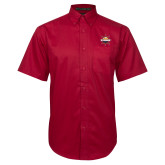 Red Twill Button Down Short Sleeve-Primary Mark w/out Peoria