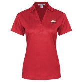 Ladies Red Performance Fine Jacquard Polo-Primary Mark w/out Peoria