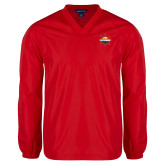 V Neck Red Raglan Windshirt-Primary Mark w/out Peoria
