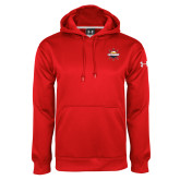 Under Armour Red Performance Sweats Team Hoodie-Primary Mark w/out Peoria