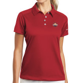 Ladies Nike Dri Fit Red Pebble Texture Sport Shirt-Primary Mark w/out Peoria
