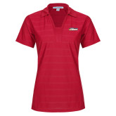 Ladies Red Horizontal Textured Polo-Peoria Rivermen - Hockey Stick