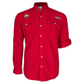 Columbia Bahama II Red Long Sleeve Shirt-Primary Mark w/out Peoria