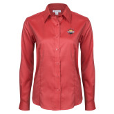 Ladies Red House Red Long Sleeve Shirt-Primary Mark w/out Peoria
