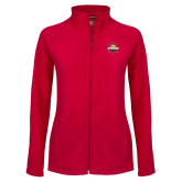 Ladies Fleece Full Zip Red Jacket-Primary Mark w/out Peoria