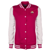 Ladies Pink Raspberry/White Fleece Letterman Jacket-Primary Mark w/out Peoria