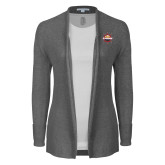 Ladies Heather Grey Open Front Cardigan-Primary Mark w/out Peoria