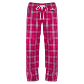 Ladies Dark Fuchsia/White Flannel Pajama Pant-Primary Mark w/out Peoria