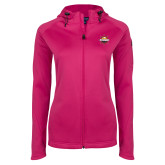 Ladies Tech Fleece Full Zip Hot Pink Hooded Jacket-Primary Mark w/out Peoria
