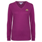 Ladies Deep Berry V Neck Sweater-Primary Mark w/out Peoria