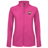 Ladies Fleece Full Zip Raspberry Jacket-Primary Mark w/out Peoria