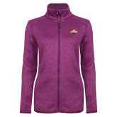 Dark Pink Heather Ladies Fleece Jacket-Primary Mark w/out Peoria