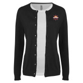 Ladies Black Cardigan-Primary Mark w/out Peoria
