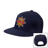 Navy Flat Bill Snapback Hat-Primary Mark w/out Peoria
