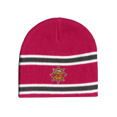 Pink/Charcoal/White Striped Knit Beanie-Primary Mark w/out Peoria