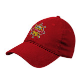 Red Twill Unstructured Low Profile Hat-Primary Mark w/out Peoria