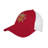 Red/White Mesh Back Unstructured Low Profile Hat-Primary Mark w/out Peoria
