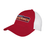 Red/White Mesh Back Unstructured Low Profile Hat-Peoria Rivermen - Hockey Stick