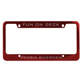 Metal Red License Plate Frame-Peoria Rivermen