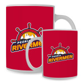 Full Color White Mug 15oz-Peoria Rivermen Secondary Mark