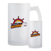 Full Color Decorative Frosted Glass Mug 16oz-Peoria Rivermen Secondary Mark