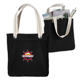 Allie Black Canvas Tote-Primary Mark w/out Peoria