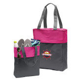 Charcoal/Tropical Pink Colorblock Tote-Primary Mark w/out Peoria