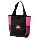 Black/Tropical Pink Panel Tote-Primary Mark w/out Peoria