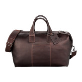 Kenneth Cole Columbian Leather Mahogany Weekender Duffel-Stacked Shield/Phi Delta Theta Debossed