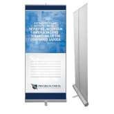 33.5 x 80 Vertical Banner including Silver Retractable Banner Stand-Corporate Ladder