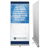 33.5 x 80 Vertical Banner including Silver Retractable Banner Stand-Potential
