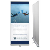 33.5 x 80 Vertical Banner including Silver Retractable Banner Stand-Action (Skydive)