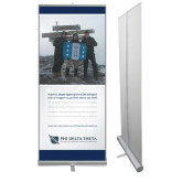 33.5 x 80 Vertical Banner including Silver Retractable Banner Stand-Action (Mountain)