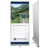 33.5 x 80 Vertical Banner including Silver Retractable Banner Stand-Courage Version 1