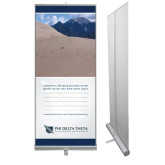 33.5 x 80 Vertical Banner including Silver Retractable Banner Stand-Action (Sand) w/ Personalization