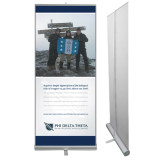 33.5 x 80 Vertical Banner including Silver Retractable Banner Stand-Action (Mountain) w/ Personalization