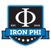 Small Decal-Iron Phi Shield, 6in H
