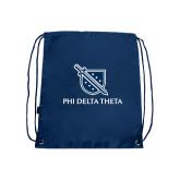Nylon Navy Drawstring Backpack-Stacked Shield/Phi Delta Theta