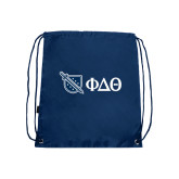 Nylon Navy Drawstring Backpack-Shield/Phi Delta Theta Symbols